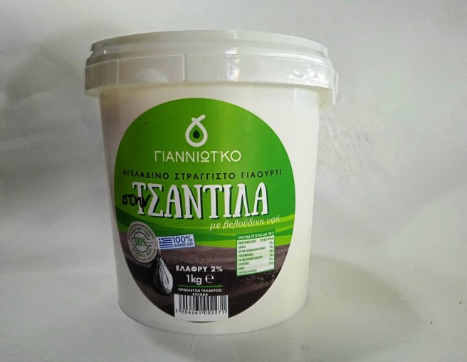 Γιαούρτι Αγελαδινό Στραγγιστό 2% 1 κιλό Τσαντίλα