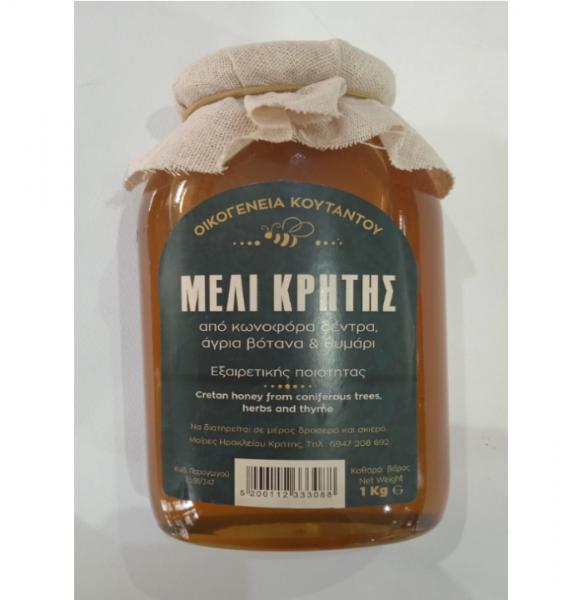 Μέλι από Θυμάρι & Κωνοφόρα Δέντρα Κρήτης Οικογένεια Κουτάντου 1 κιλό